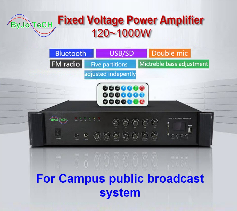 ByJoTeCH Bluetooth Contant Voltage  Power Amplifier Five Area Background Music Campus Public Address System 120 W - 1000 W