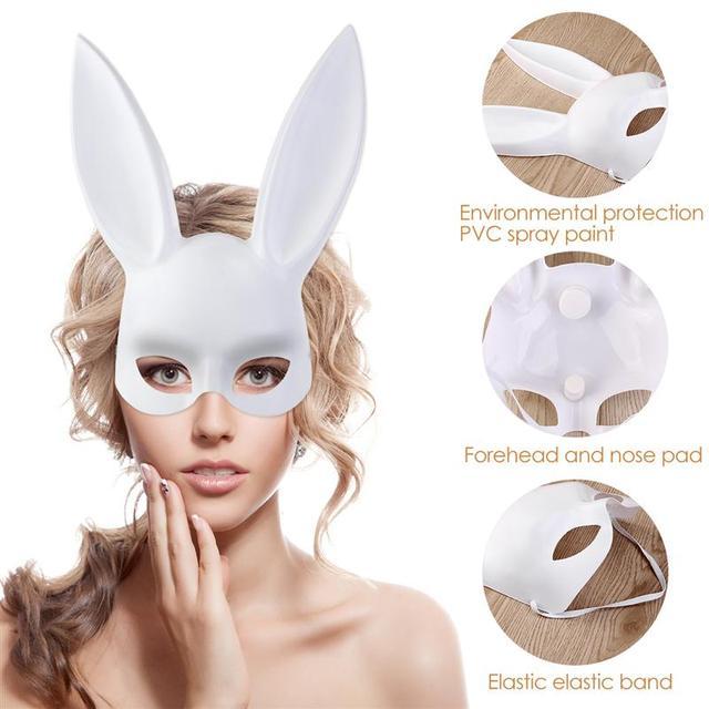 2017 new rabbit bunny ears veil black eye mask halloween party headwear hair accessories - Black Eye Mask Halloween