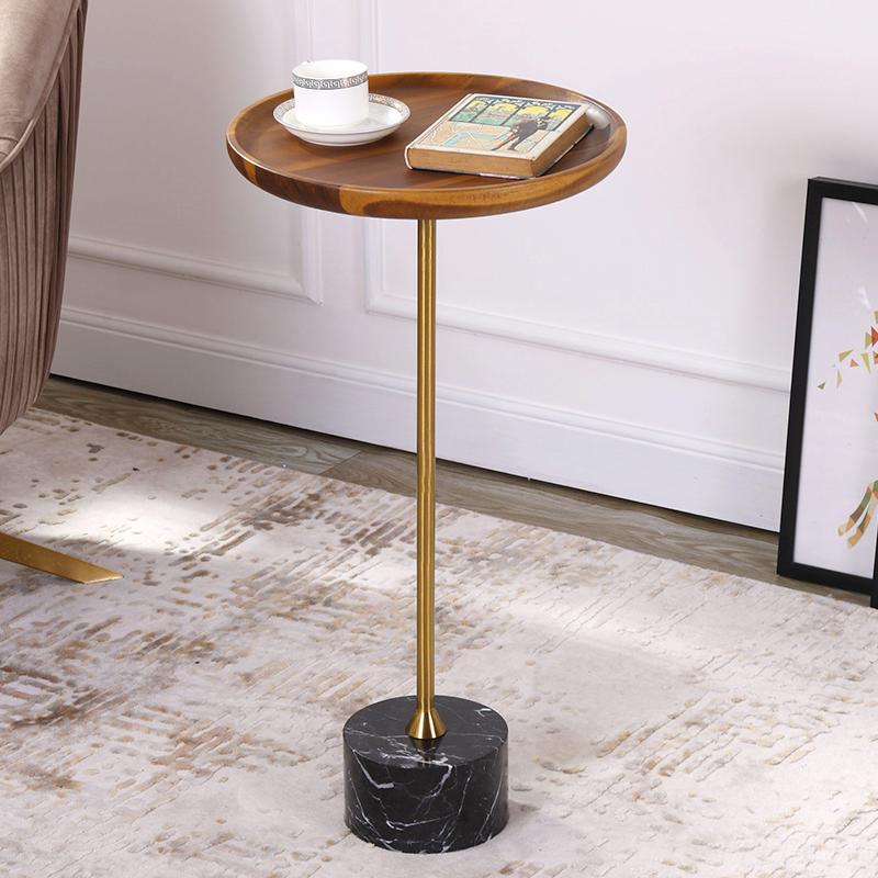 Nordic Side Solid Wood Tray Wrought Iron Personality Creative Small Apartment Living Room Sofa Table Corner