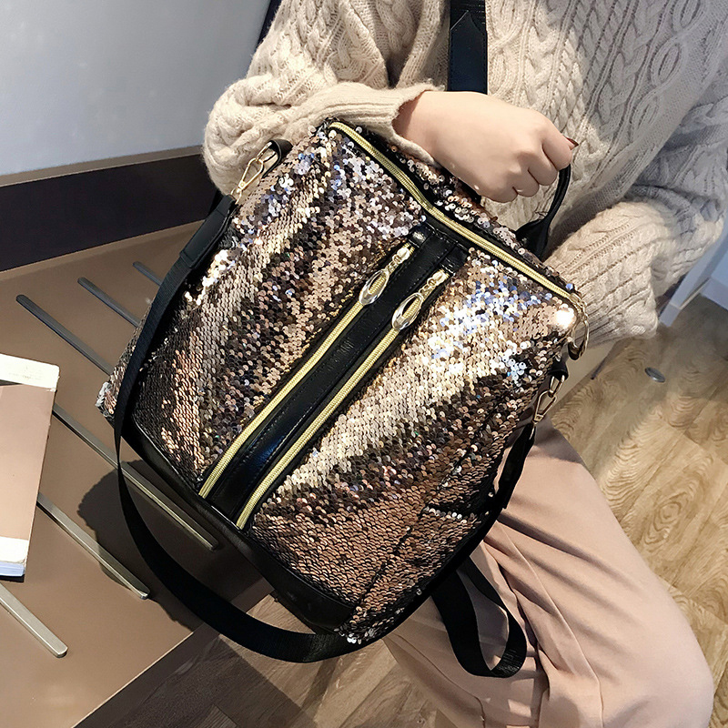 Women Knapsack Glitter Sequins Shoulder Backpack Girls Bling Travel School Bag Rucksack Female PU Daypack Mochila Feminina Mujer