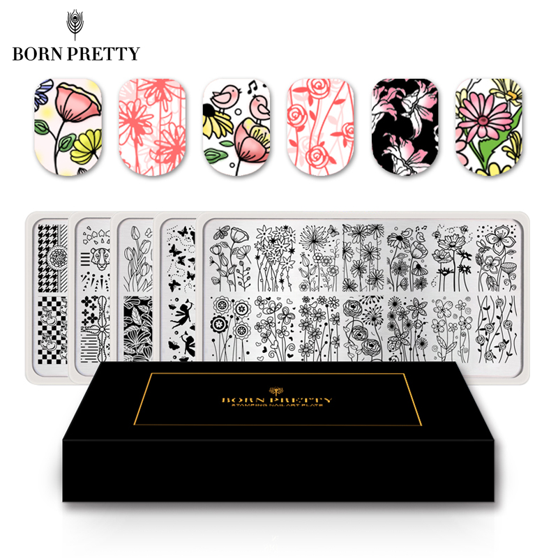 BORN PRETTY 5 Pcs Flower Butterfly Nail Stamping Plate Set Template Rectangle Strip Mandala Nail Art Image Plate