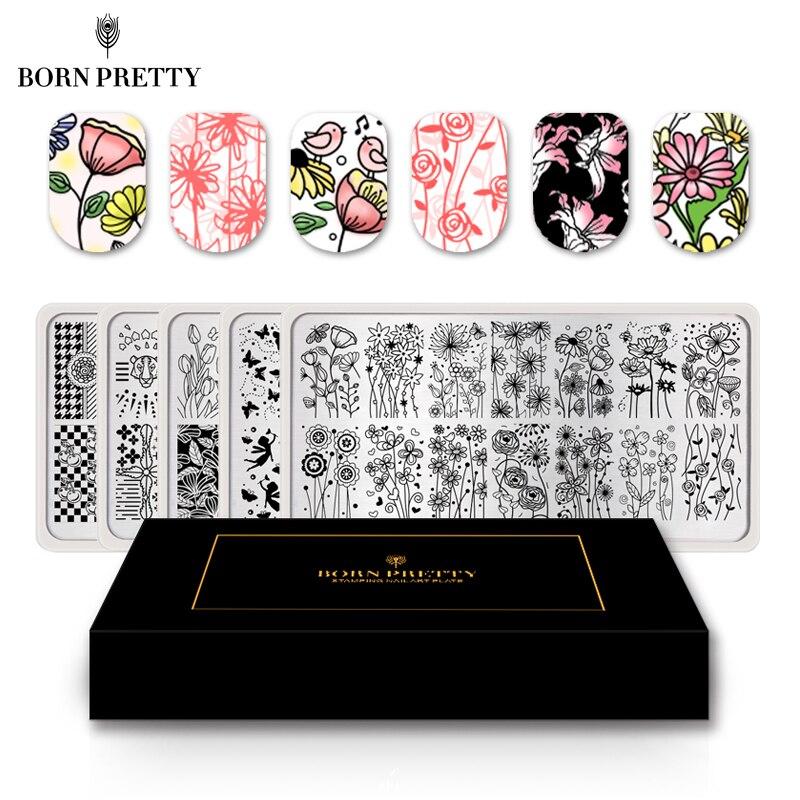 BORN PRETTY 5 pièces fleur papillon ongles estampage ensemble de plaques modèle Rectangle bande Mandala Nail Art Image plaque