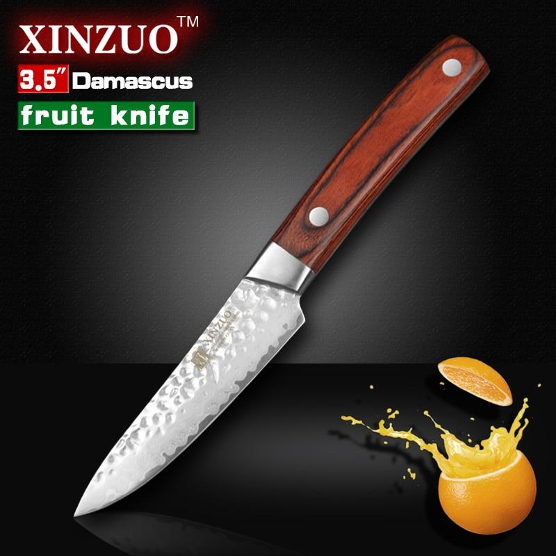 XINZUO 3 5 inches fruit font b knife b font Damascus kitchen font b knives b