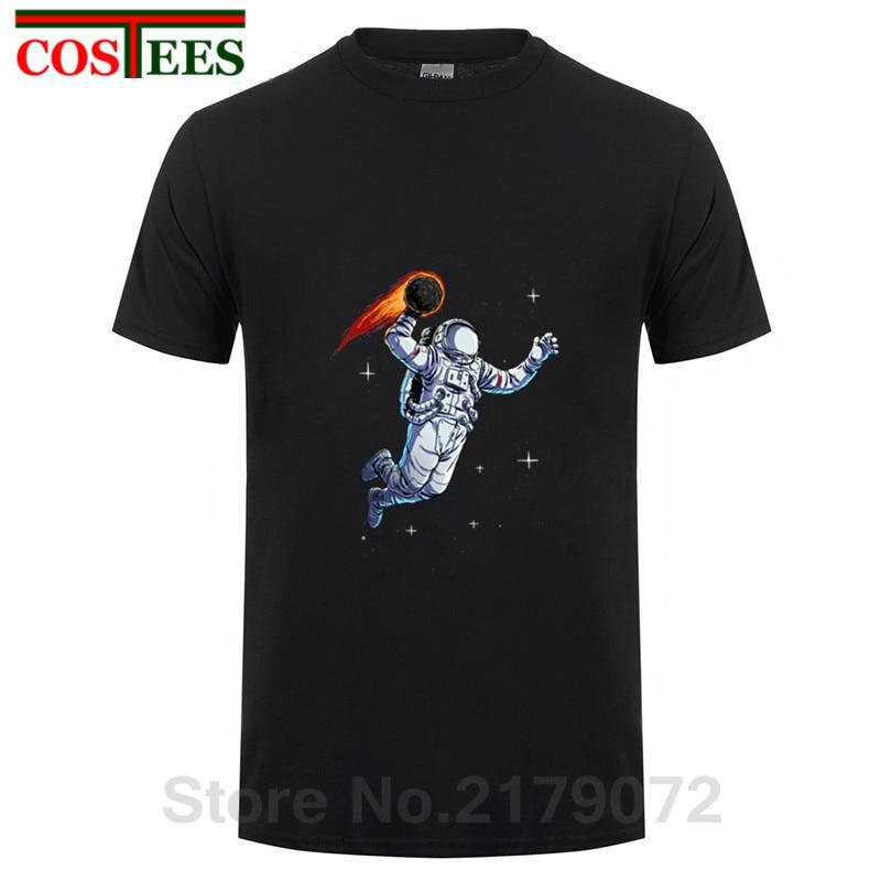 Hot Selling SpaceX T Shirt Men 2018 Fashion Summer Dunking Astronaut T-Shirt Parody Space Dunk Tshirt Pure Cotton Brand Clothing