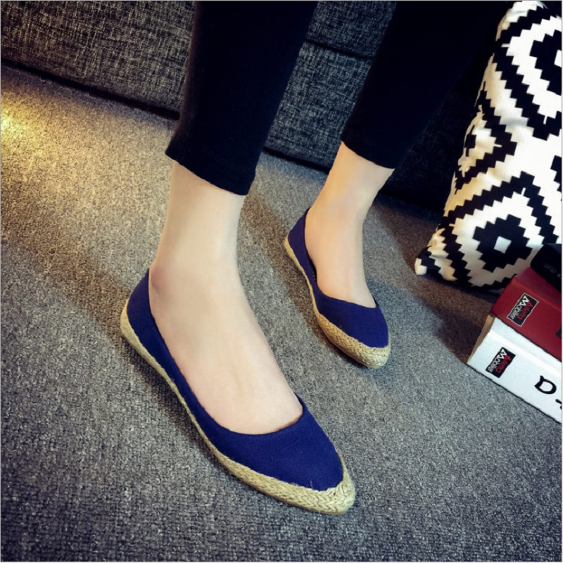 Pointed Toe Canvas Women Flats Loafers Casual National Soft Loafers Women Shoes Flats Q0085