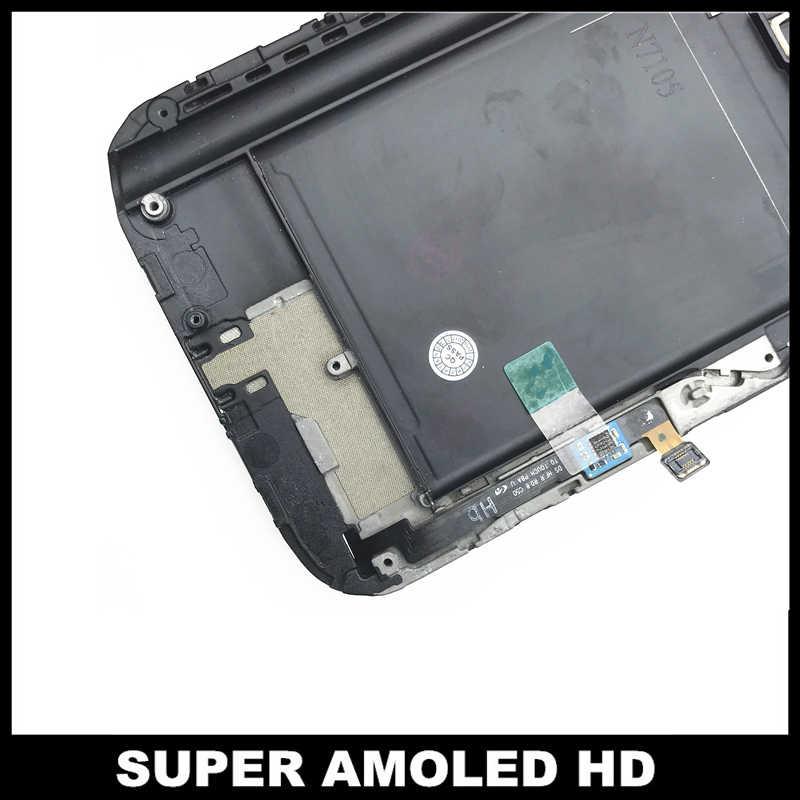 عالية الجودة AMOLED شاشات LCD لسامسونج غالاكسي Note2 ملاحظة 2 N7105 LCD شاشة عرض مع الإطار لمس كاملة قطع غيار محول رقمي