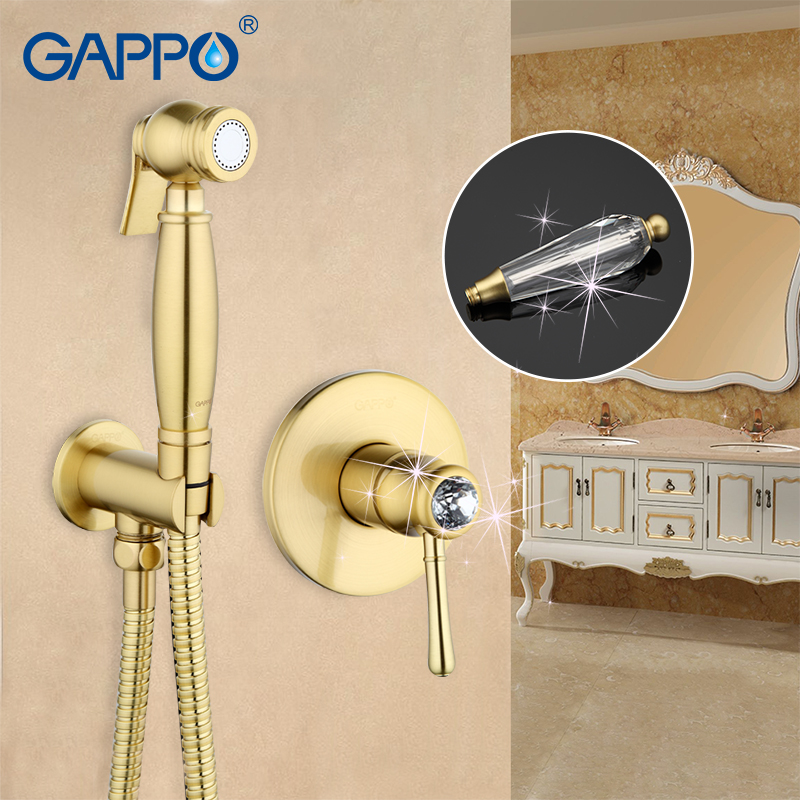 Gappo Golden Crystal Bathroom bidet faucet muslim bidet shower toilet sprayer restroom mixer tap toilet washer tap mixerGA7297-4 gappo classic chrome bathroom shower faucet bath faucet mixer tap with hand shower head set wall mounted g3260