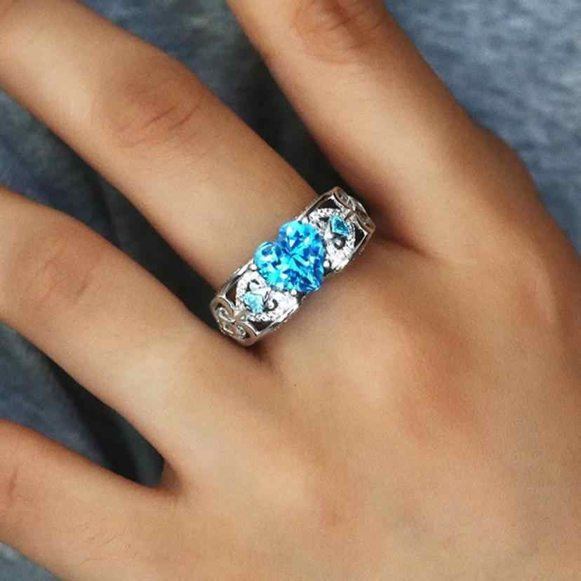 Stylish Silver Natural Ring Birthstone Bride Wedding Engagement Heart Rings Jewelry Accessory Beautiful Ring Ornaments Sets
