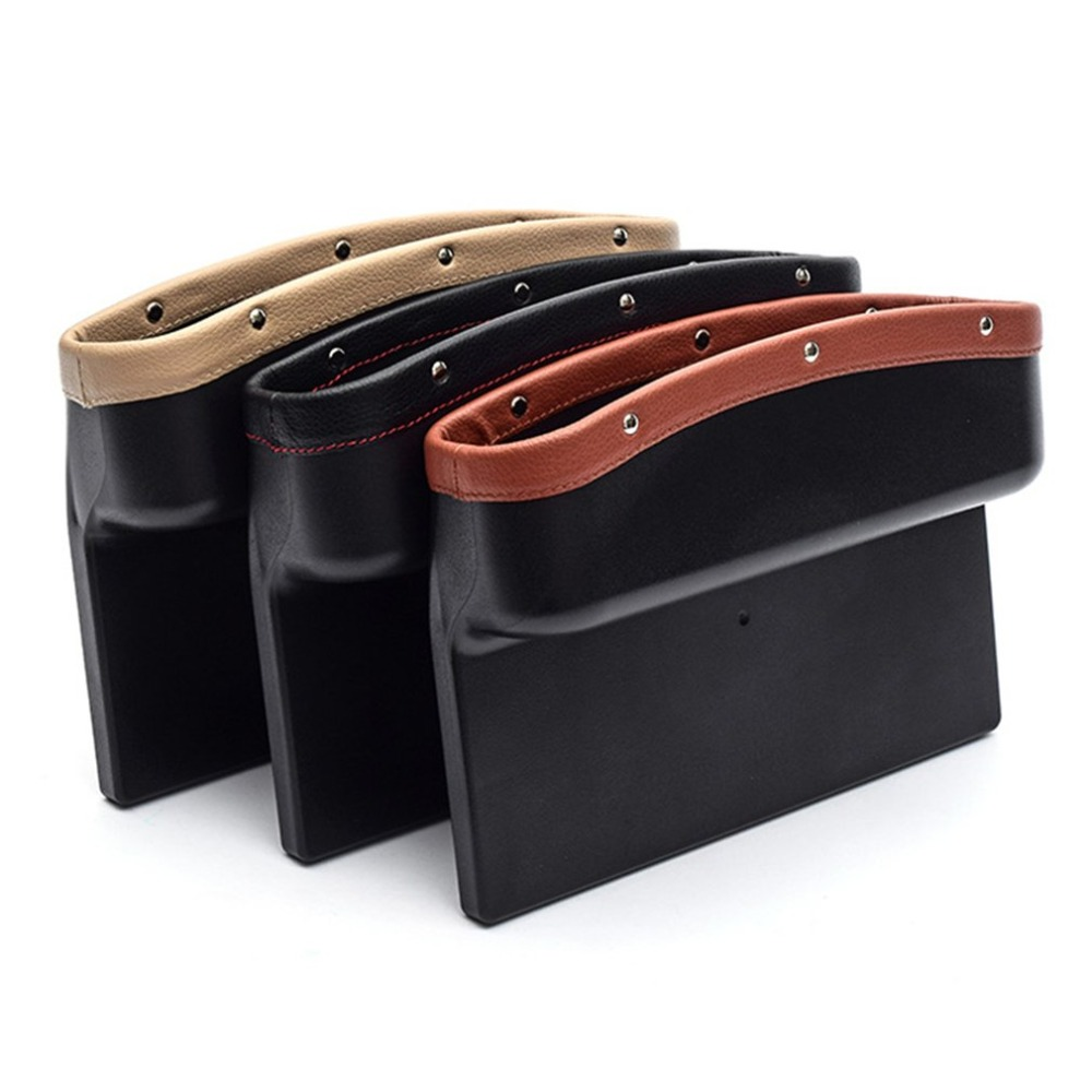 Universal Car Seat Crevice Storage Box PU Leather Car Organizer Cup Holder Auto Gap Side Pocket for Stowing Tidying