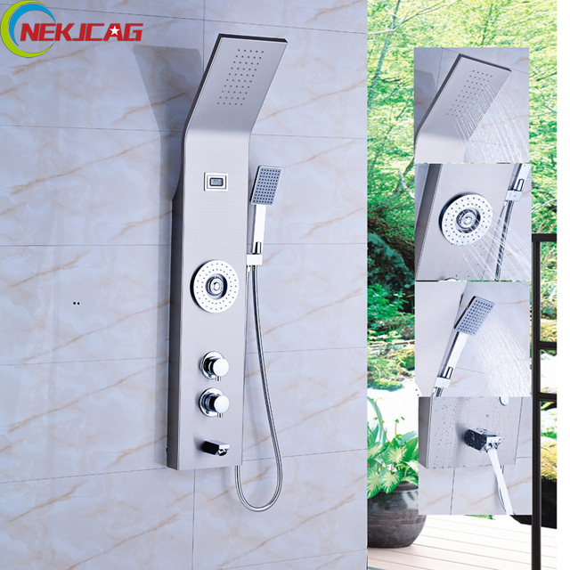 Thermostatic Shower Panel Stainless Steel Tower Shower Column Massage Jet  System Auto Thermostat Control Shower