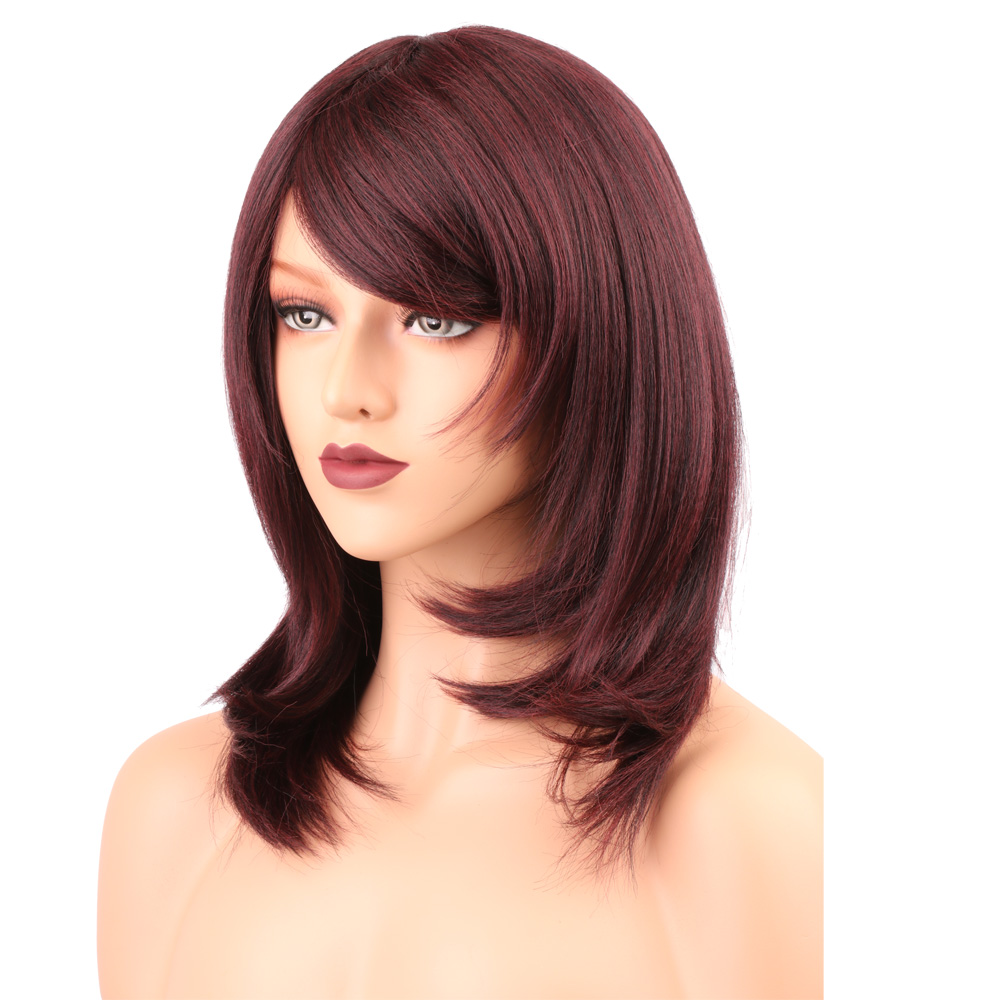 None Lace Synthetic Wigs With Bangs For Black Women Yaki Straight 99J African American Short Bob Heat Resistant Wigs