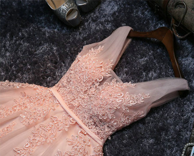 Elegant Pearl Pink Prom Dresses 2019 Sexy Prom Dress Short V Neck Appliques Beading Lace Up Knee-Length Graduation Party Gowns 5