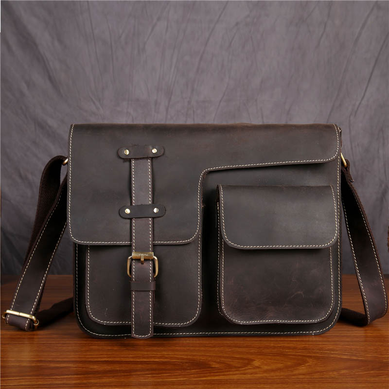 Vintage Real Leather Men's Messenger Bags Laptop Bags Retro Style Male Cross Body Messenger Bag Crazy Horse Leather Bags SDM1050