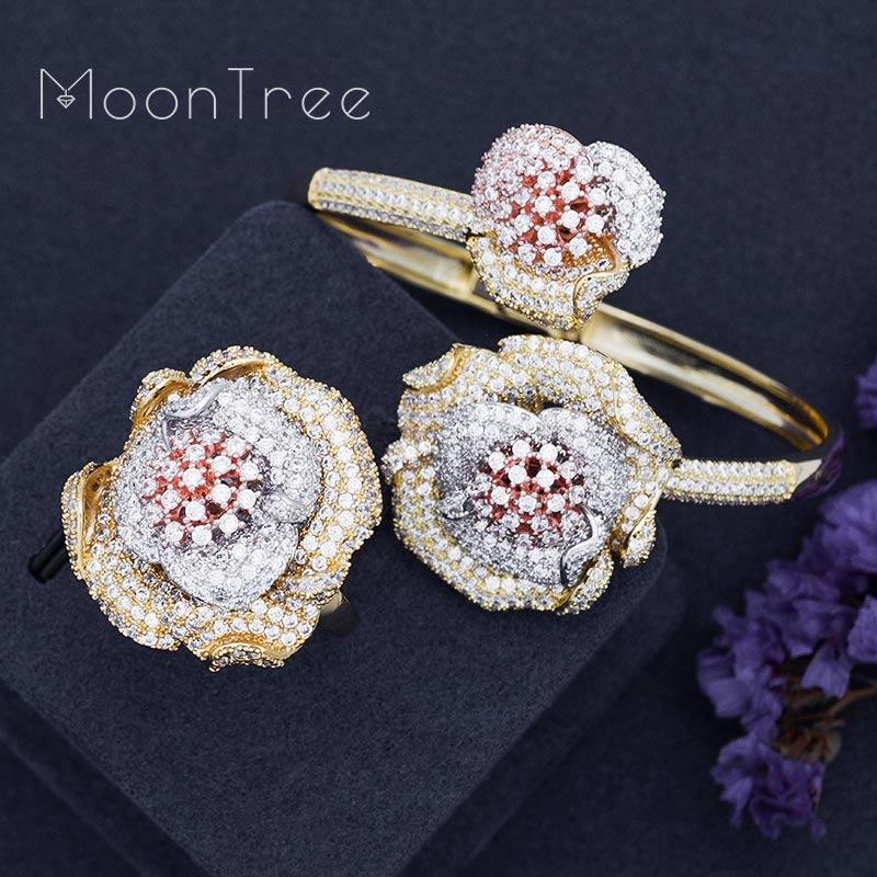 MoonTree Luxury Floral Sun Flower Full Cubic Zirconia Pave Bracelet Bangle Ring Set Dress Jewelry Sets For Women цена