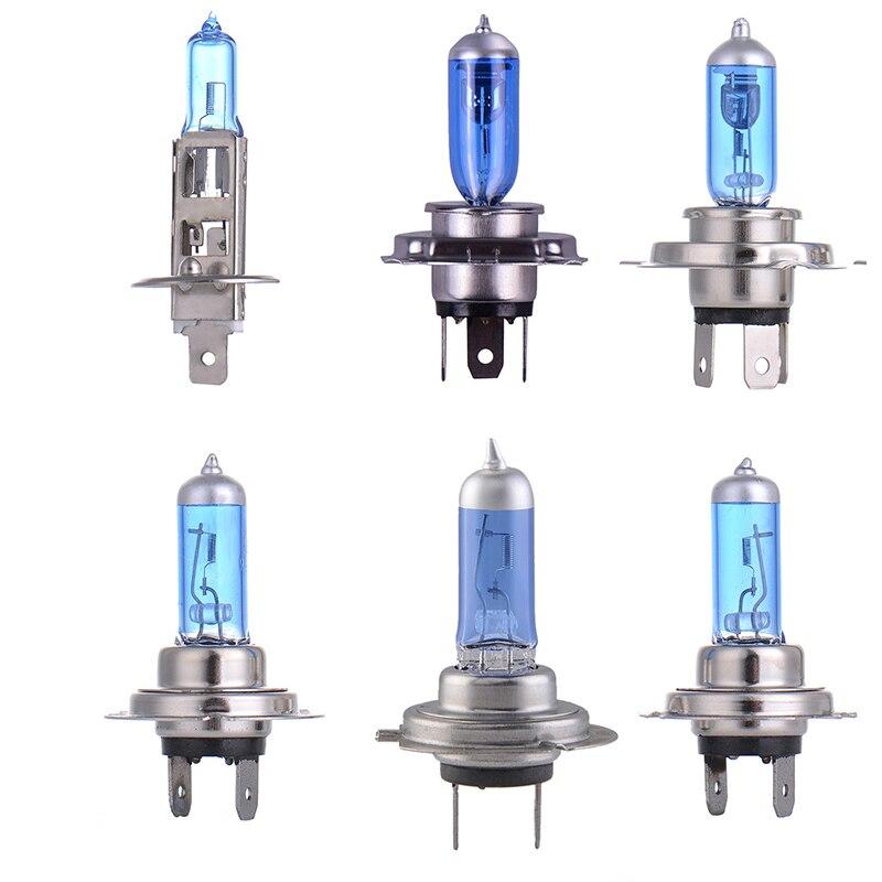 2pcs Car Bulb  H1 H4 H7 100W/55W 12V Super White Quartz Glass Blue Car Headlight Lamp Bulbs Lights