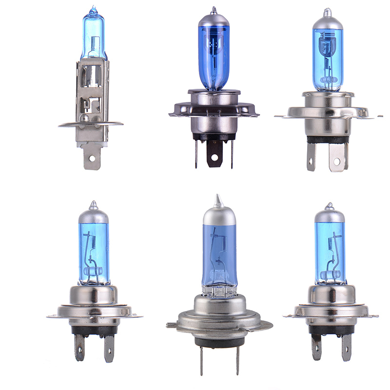 2pcs Car Halogen Bulb H1 H4 H7 100W 55W 12V Super White Quartz Glass Blue Car