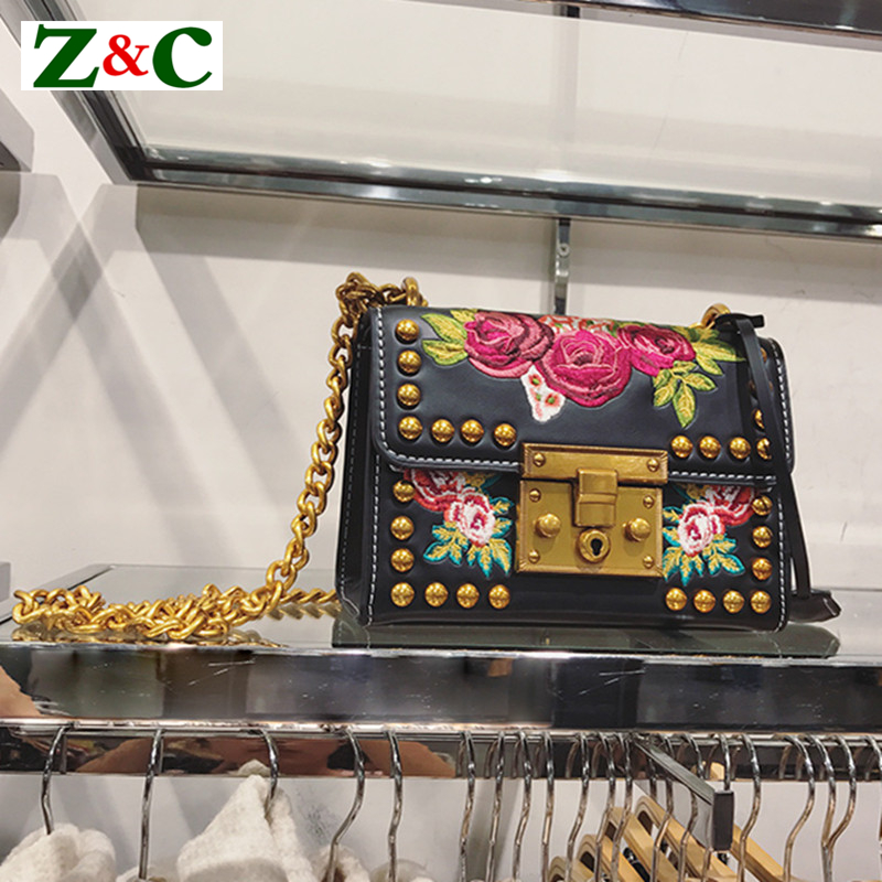 Women Embroidery Flowers Bag Fashion Flap Rivet Shoulder Messenger Bags Women Leather Handbags Fashion Chain Crossbody
