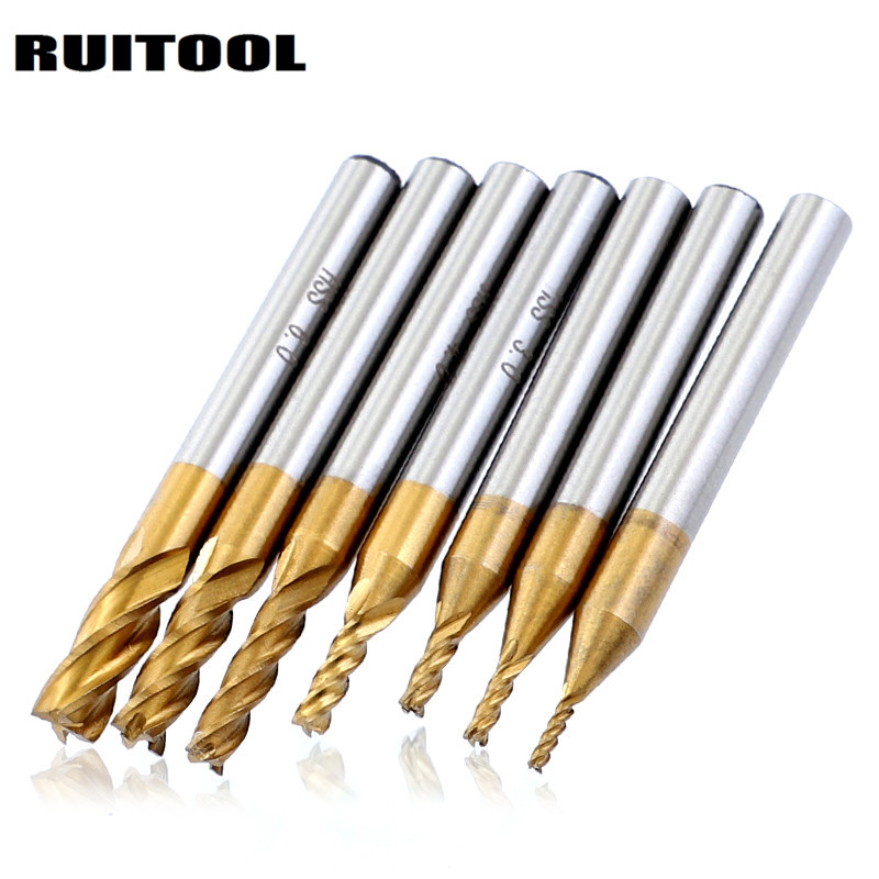 Juego unids de 7 piezas DE CORTADOR de fresado de titanio de 1,5mm 6 HSS 4 flautas CNC Router Bit Molino de extremo métrico recto para acero de madera