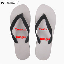 INSTANTARTS Customized Your Picture Men Flip Flops Custom Boys Beach Flats  Slippers Soft Male Slip- 10546114b5bb