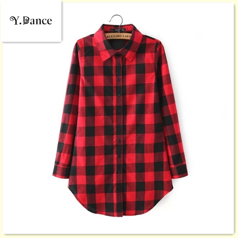Sell like hot 2017 Red plaid print long blouse feminine shirt Winter casual blusas plus size women tops Autumn outwear Chemise