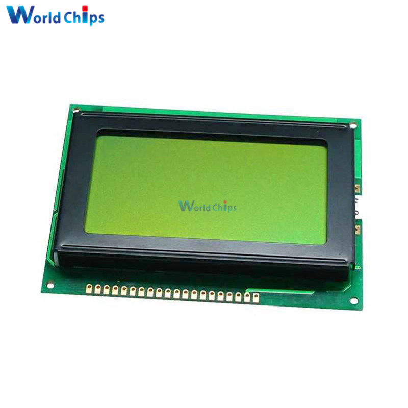 12864 128x64 Dots Graphic LCD Display Module Yellow Green Color Backlight LCD Display For Arduino Raspberry Pi