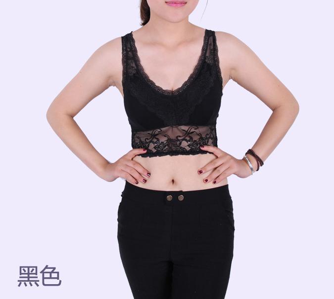 Жилет, корейский топ с бретелькой на груди, кружевная майка для женщин, 53115 - Цвет: Черный