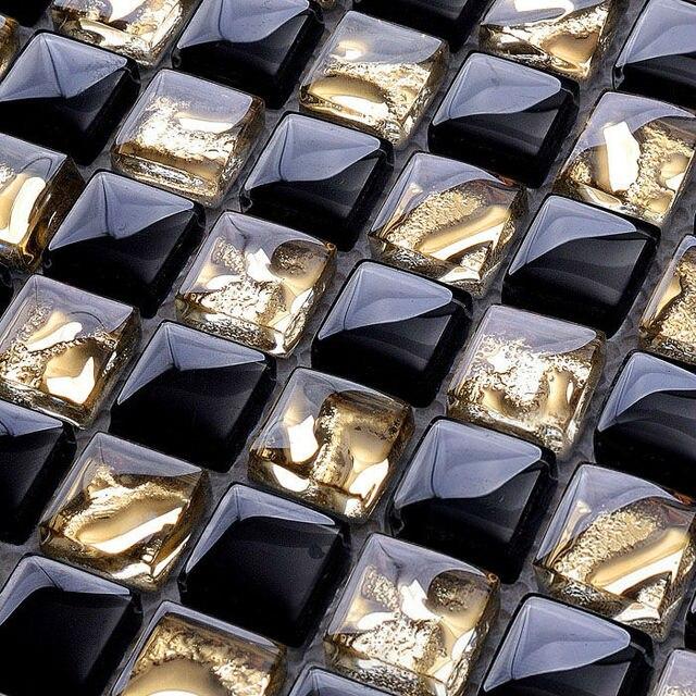 Azulejo de mosaico de vidrio protector contra salpicaduras oro y ...