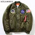 Men Bomber Jackets Flight Pilot Jacket Coat Nasa Air Force Embroidery Baseball Uniform Military Style Coats Army Green Black