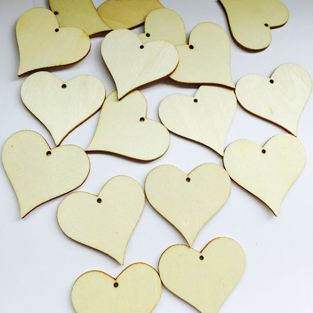 100pcs Wooden Hearts Wishing Wedding Tag