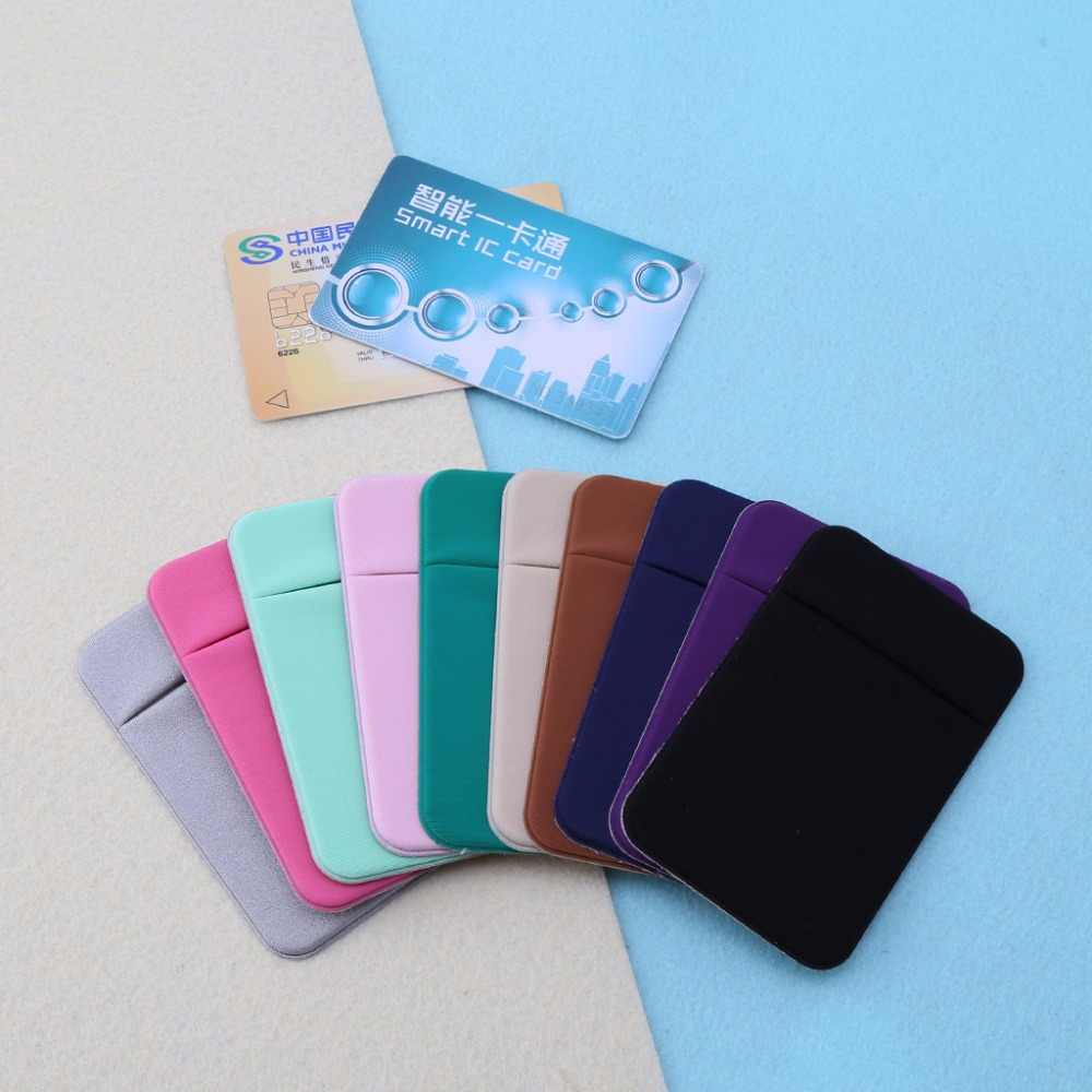 THINKTHENDO New Mobile Phone Credit Card Wallet Holder Pocket Stick-On Adhesive Elastic Tool for Men Women