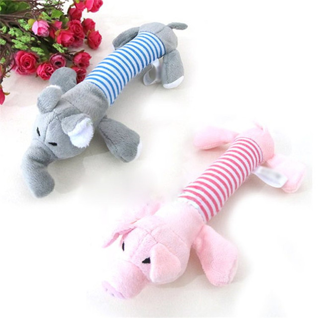 Rosa Cinza Amarelo Animal de Estimação Cães Squeaky Squeaker Som Pelúcia Jogar Brinquedos Pato Porco Elefante Engraçado Jogar Suprimentos