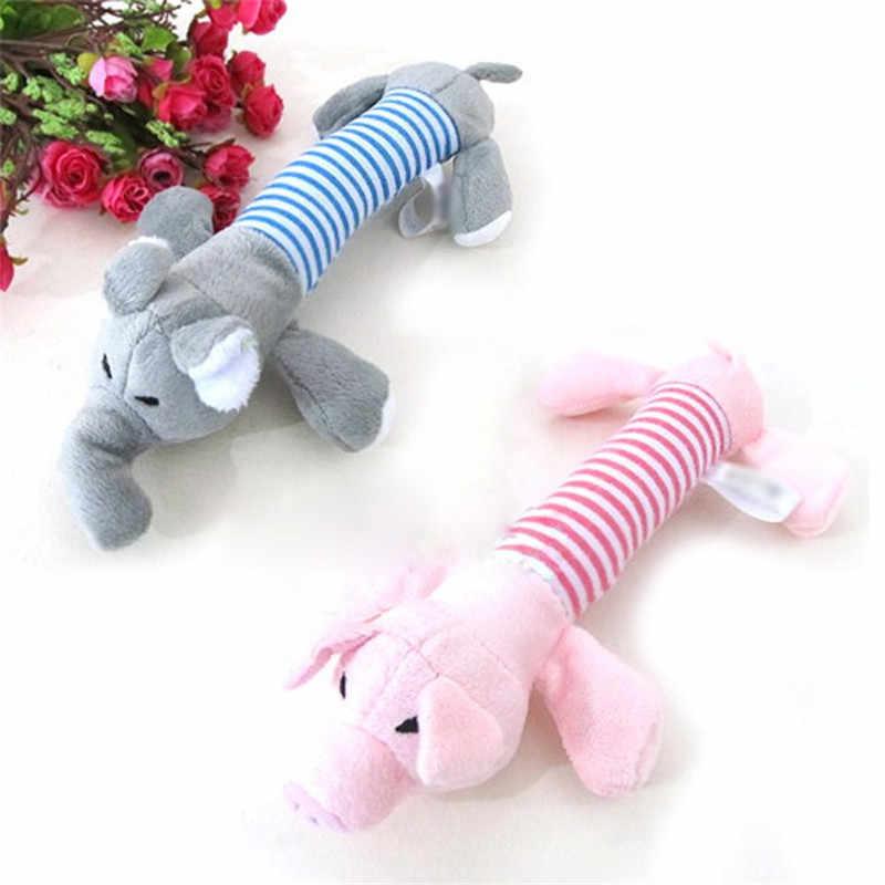Rosa gris amarillo perros sonajero chillón sonido de peluche de felpa juguetes pato cerdo elefante divertido jugando suministros