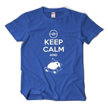 XHTWCY summer T Shirts men Cotton Keep Calm And Carry On Snorlax Sleep On Pikachu