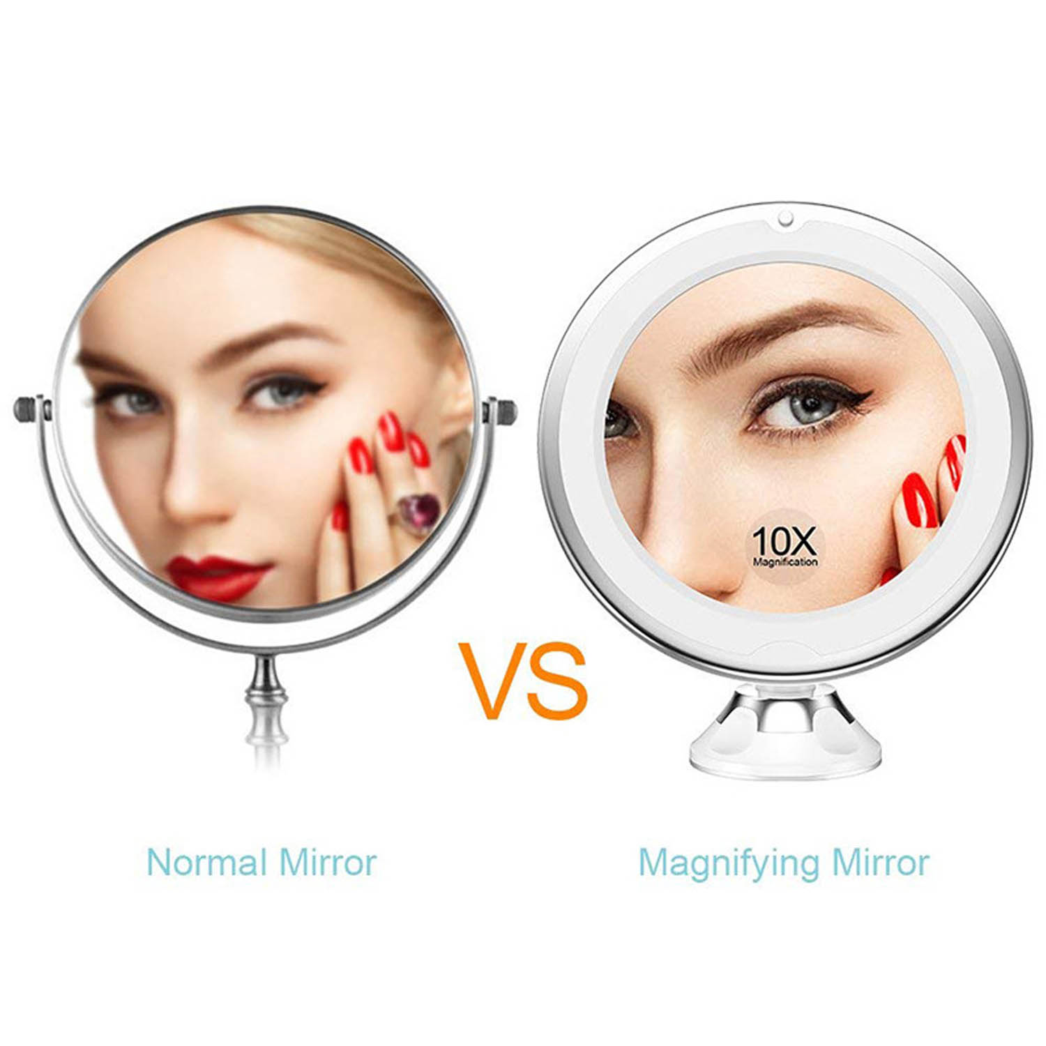 360 Degree Rotation LED 10x Magnification Makeup Mirror with Suction Cup for Bedroom Bathroom Dressing Table Makeup Room 4