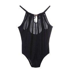 Сплошной черный сексуальный женский купальник с бретелькой через шею, бандажный Цельный купальник для женщин, купальные костюмы, пляжная о... 4