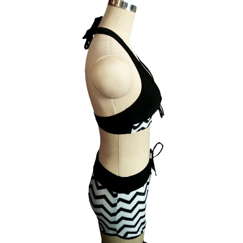 a64ea9fa897ed 2018 Women Black and White Swimsuit Striped Chevron Print Bikini Shorts Set  Halter Neck Plus Size Swimwear Bathing Suit Tankini-in Body Suits from  Sports ...