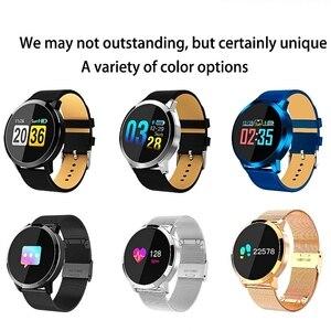 Image 5 - Reloj inteligente Q8 OLED con Bluetooth, de acero inoxidable, dispositivo impermeable, reloj inteligente, reloj de pulsera para hombres y mujeres, rastreador de Fitness