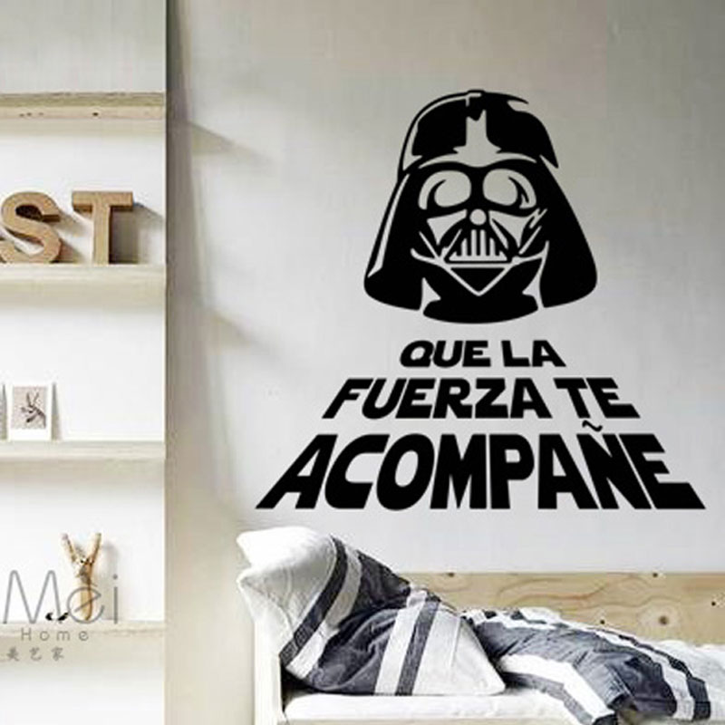 Cool Star Wars Force Glasses Man Vinyl Wall Sticker Wallpaper Decals Mural Fashion Boys Room Office Home Decoration 60*60CM NEW