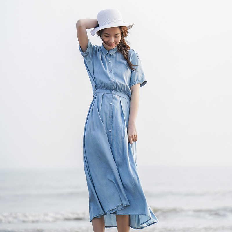 Инман 2018 лето новый дизайн задней выдолбленные поддельные две части джинсовые платья женщин.