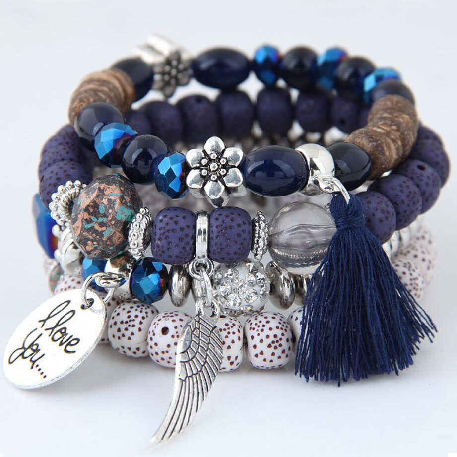 7-1Exaggerated Bohemia Style Women Bracelets Bangle Fashion Beads Tassel Bracelets Ethnic Jewelry Accessories For Vacation