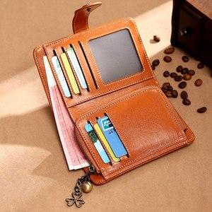 Image 5 - Zency 100% prawdziwej skóry prosty portfel dla kobiet kopertówka wysokiej jakości dużej pojemności portfel etui na karty brązowy