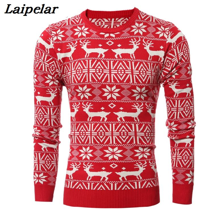 Brand New Christmas Style Winter Pullover Sweater Men Deer Printed Long Sleeve Sweaters Male Casual Slim Fit Thick Sweaters