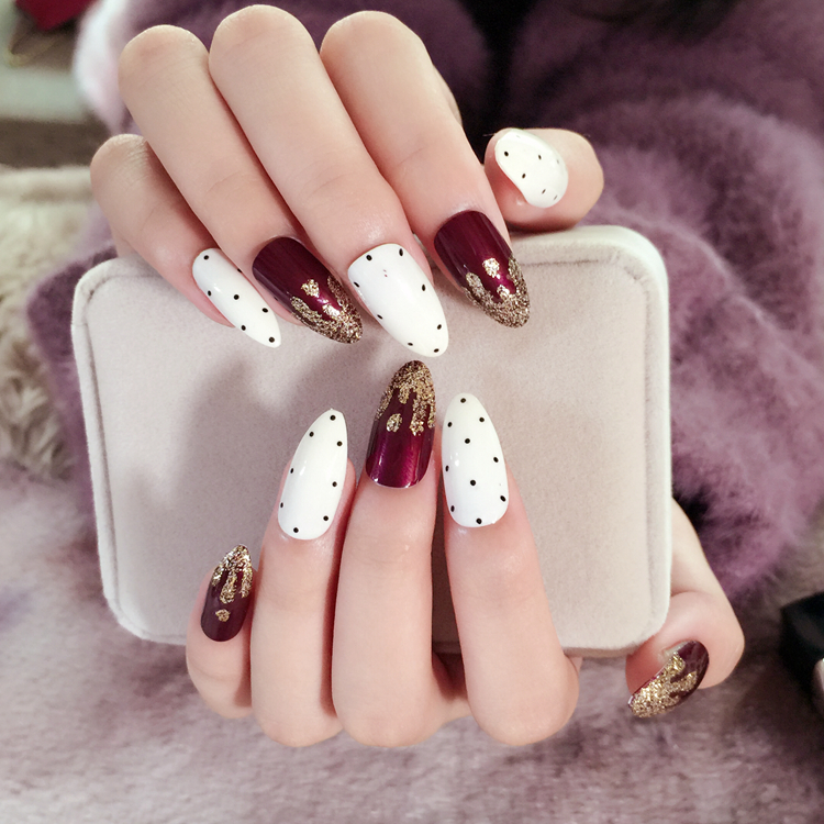 Acrylic Pointed Fake Nails Wine Red Glitter Nail Tips Spot Pattern ...