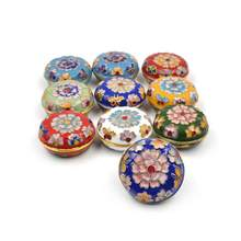 Jewelry Box Vintage Floral Pattern Enamel Cloisonne Jewelry Box Small Ring Earrings Storage Box Case Random Color #13(China)