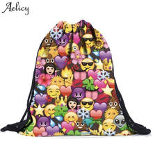 Aelicy Smiley Emoji Face Backpack 3D Cute Smile Printing Drawstring Backpacks for Teenage Girls Travel School Bag Bolsa Mochila(China)