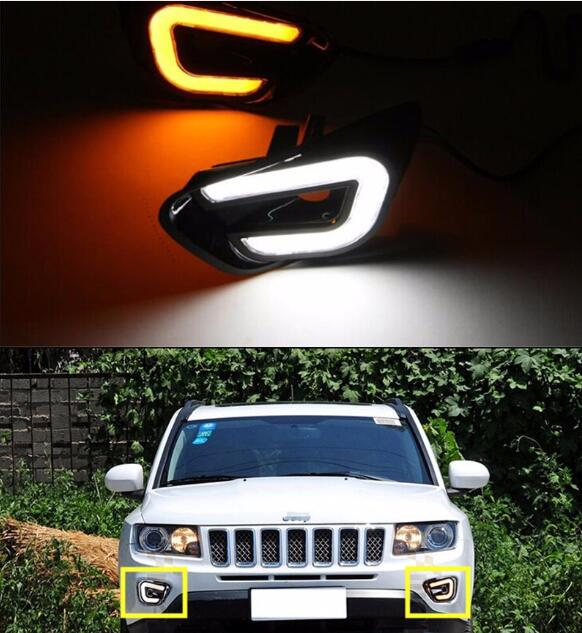 цена на With Turn Signal Function 12V Car LED Daytime Running Lights DRL Fog Lamp Cover For Jeep Compass 2011 2012 2013 2014