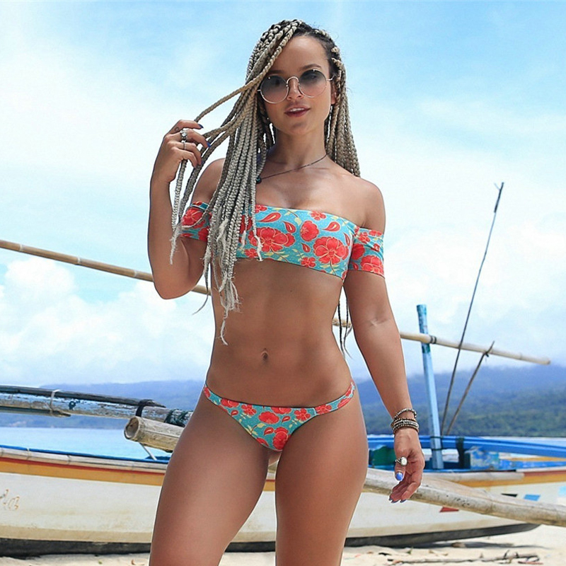 Women Swimming Sets Sexy Slash Neck Short Sleeve Print Short Top+Elastic Waist Briefs Ladies Summer Beach Bath Swim Clothes