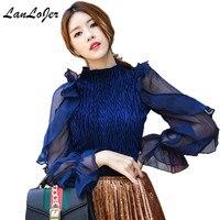 Woman Net yarn shirt Ruffles Transparent Chiffon Blouses bottoming long sleeved velvet Stitching shirt Ruffle folds Tops 2018