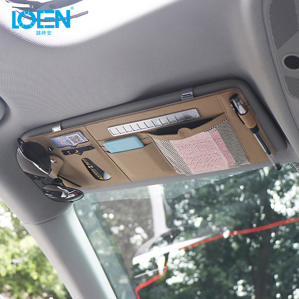 1PCS PU Leather Car Sunshade Storage Bag Sun Visor Organizer Sunglasses Card Pen Holder With Parking Phone Number Plate 3 Colors