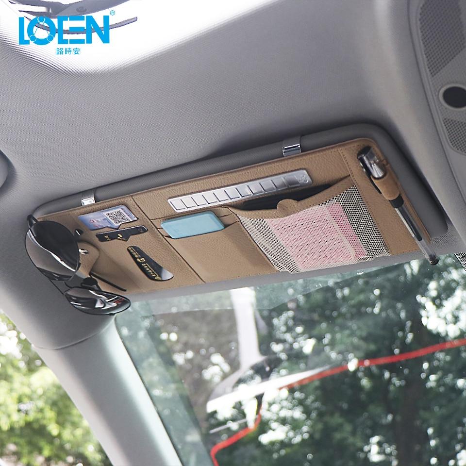 1PCS PU Leather <font><b>Car</b></font> Sunshade Storage <font><b>Bag</b></font> Sun Visor Organizer Sunglasses Card Pen Holder With Parking <font><b>Phone</b></font> Number Plate 3 Colors